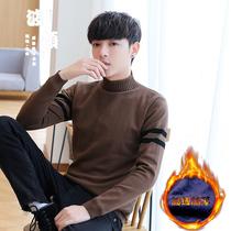 修身 半高领毛衣男冬季加厚加绒韩版 男士 中领青少年学生潮流针织衫
