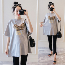 New large-sized short-sleeved pregnant women's T-shirt in the summer of 2019 Korean version of loose, slim, medium and long-term pregnancy cotton jacket