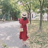 裙子少女心仙女连衣裙红色 小清新度假中长款 2018夏季新款 女装