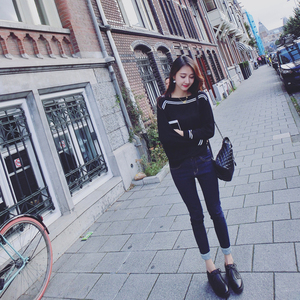 2016秋季新款韩版条纹打底薄款毛针织衫女套头宽松长袖一字领上衣女装定制