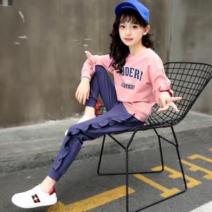 2018新款童装女童春装韩版时尚大童时髦套装衣服运动服两件套10