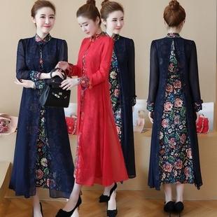 民族风2018春夏季新款女装气质长袖修身中长款棉麻改良旗袍连衣裙