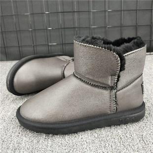 冬季暖老大新款显瘦防水雪地靴女防滑皮毛一体短靴保暖加绒棉鞋潮