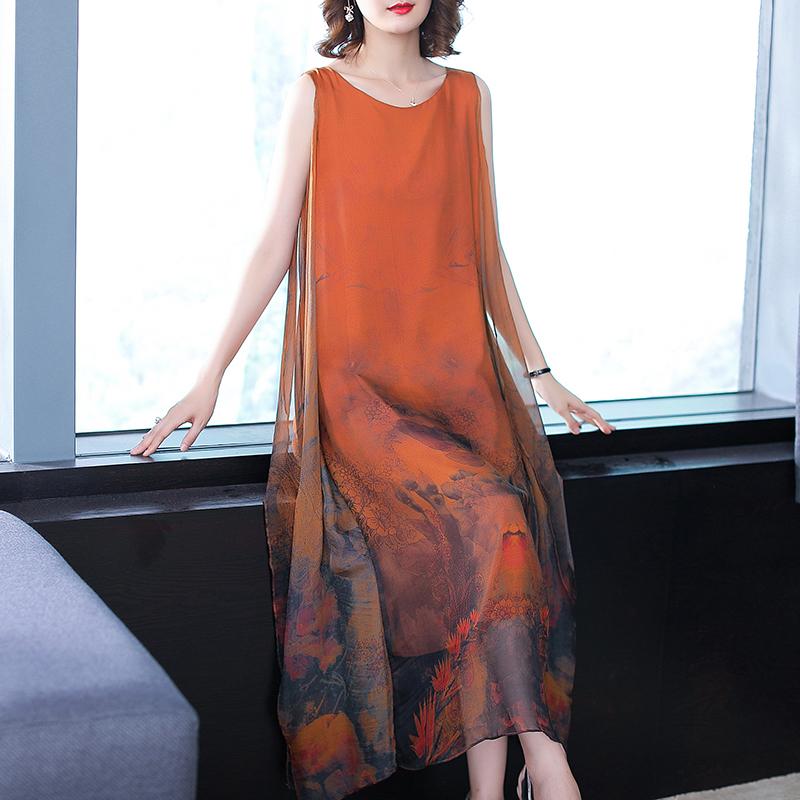 反季真丝连衣裙女2018新款大牌清仓重磅桑蚕丝宽松显瘦铜氨丝长裙图片