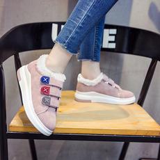 加绒加厚女百搭平底鞋子冬季保暖棉鞋运动鞋冬天2017新款学生韩版