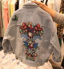 2018春装新款韩版bf风刺绣花卉贴布翻领牛仔宽松长袖百搭外套女潮