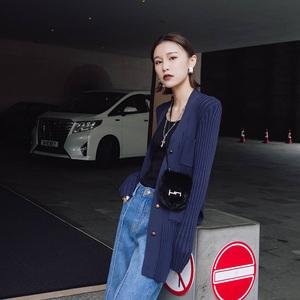 Ayuko 毛衣女春装新款纯色条纹修身显瘦V领针织开衫女外套中长款针织衫女