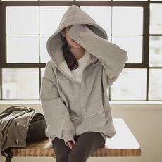 春秋季中长款bf原宿风加绒卫衣女春韩版宽松拉链开衫学生带帽外套