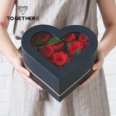苁丛 心形花盒 鲜花透盖包装盒 爱心玫瑰礼盒 纪念日礼物花店用