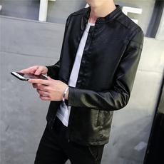 春秋男士皮衣韩版修身型皮夹克薄款帅气潮流机车青年学生短款外套