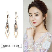 Korean version of the new titanium steel rose gold drilled long geometric earrings with temperament hollow double ring diamond Eardrops