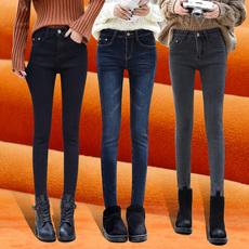 弹力牛仔裤女加绒2017新款铅笔裤秋冬装修身加厚小脚裤潮高腰长裤