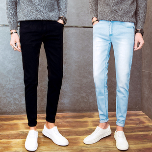 男士纯色牛仔裤秋季弹力修身休闲长裤子冬季男学生修长显瘦小脚裤