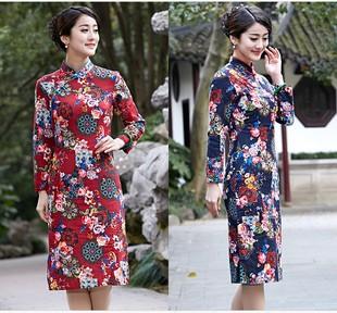 中国风旗袍春秋装长袖女长款修身优雅保暖棉麻复古连衣裙日常礼服