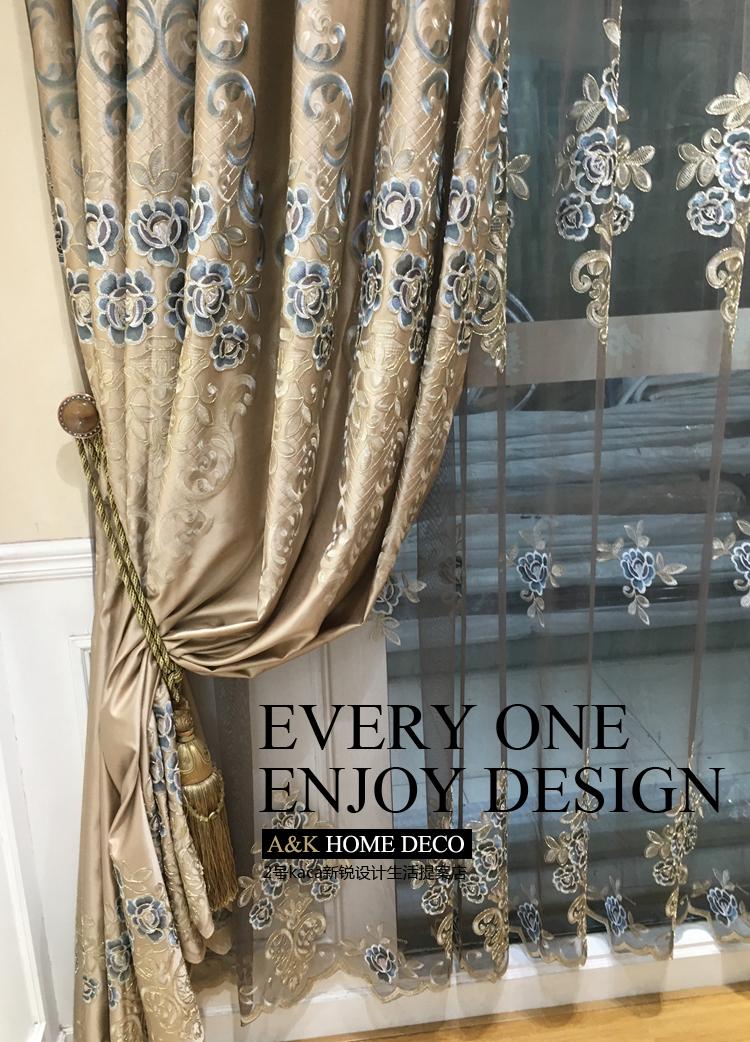 经典巴洛克欧式豪华风格设计金色窗帘布纱帘定制客厅卧室阳台门图片