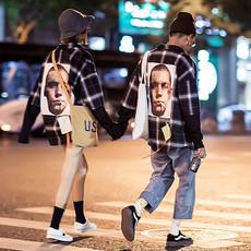 秋季韩国ulzzang潮流长袖衬衫男原宿bf风情侣装韩版宽松格子衬衣