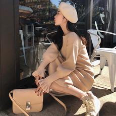 秋冬新款女装2017修身内搭加厚打底毛衣裙小香风针织高领连衣裙子