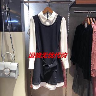 韩国2018秋季新款优雅蝴蝶结束腰假两件衬衫裙连衣裙