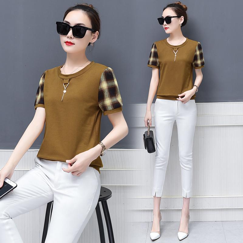 中青年25-30夏天40岁妈妈装夏装全棉汗衫宽松薄款上衣服短袖T恤女图片