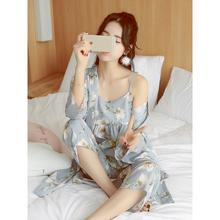 雪纺日式和服性感三件套家居服套装 日系睡衣女夏季韩版 春秋款 夏天