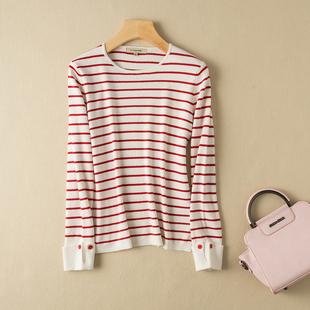 时尚气质早秋红色条纹圆领卷边袖棉羊绒针织衫显瘦减龄套头毛衣女
