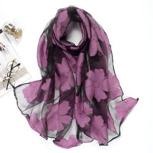 丝巾女冬季韩版蕾丝剪花雪纺纱巾春秋欧根纱披肩围巾两用长款