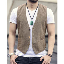 New woolen waistcoat, thin linen, tri-material buckle waistcoat and jacket for men's leisure suit in spring and Autumn