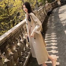 新款 韩版 流行大衣女长款 过膝2018冬装 宽松赫本风毛呢外套女秋冬季