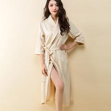 睡袍女夏季薄款浴袍女春长款高贵性感丝质睡衣欧美大码短袖浴衣