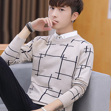修身 韩版 领假两件男士 秋季毛衣男衬衫 针织衫 衣服潮流 带领线衣冬装