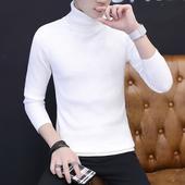 高领毛衣男韩版长领薄款男士针织衫青年修身潮流线衣秋季百搭线衫