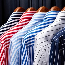 New Men's Striped Cotton Shirts men long sleeve dress Shirt