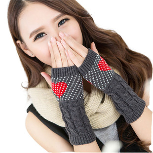 Modern Love Heart Hand Wrist Knitted Warmer Fingerless Mitte