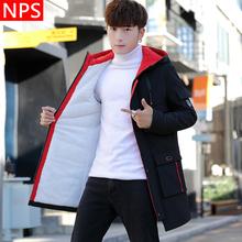中长款 潮流男装 冬季棉衣加绒加厚风衣男2018新款 韩版 外套 夹克男士