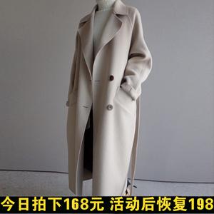 冬季新款韩版chic呢子大衣中长款赫本复古过膝超长毛呢外套女加厚毛呢大衣