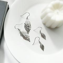925纯银羽毛耳环女镂空树叶耳钉长款气质韩国个性叶子形状的耳饰