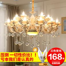 欧式水晶吊灯客厅大厅卧室餐厅复式楼别墅led锌合金玉石蜡烛吊灯