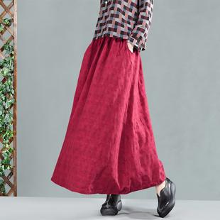 园园美衣春装新款复古提花棉麻半身裙文艺系带中长款大摆长裙女裙