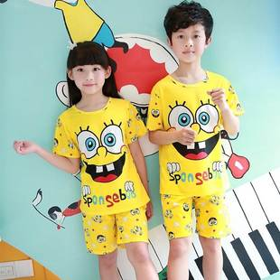 Children's pajama boy home wear summer cotton silk thin styl