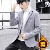 仿水貂绒冬季男装西装外套韩版潮流加绒加厚小西服男夜场毛毛上衣