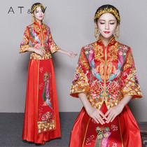 奥蒂沃小拖尾龙凤褂复古长袖 amp;IV 旗袍婚纱中式新娘秀禾服女装
