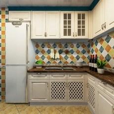 2017新款柏优全屋定制整体橱柜定做一字型厨房橱柜吸塑门板石英8