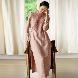 牧衣原创设计女装棉麻中式民族风秋冬长袖秋装旗袍连衣裙 不浊
