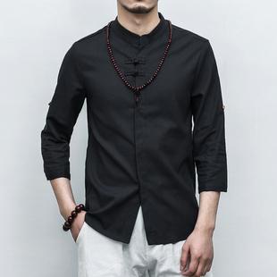 复古中国风夏季男士七分袖盘扣亚麻衬衫韩版修身短袖衬衣男士上衣
