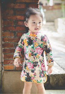 印花中国风长袖旗袍1-2-3-4岁宝宝公主裙 女童纯棉麻连衣裙春秋季