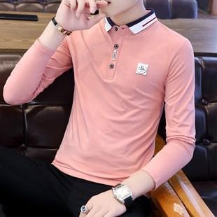 男士长袖T恤polo衫潮流纯棉体恤春秋季衬衫领青年秋装韩版上衣服