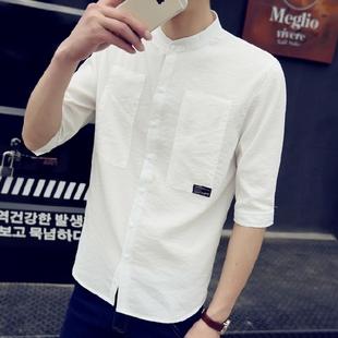 夏季学生韩版修身亚麻7七分袖白衬衫潮流短袖衬衣服男帅气百搭潮