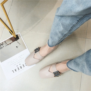 The square head shallow mouth single shoe female 2018 summer