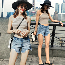 Jeans Shorts and Girls Pants 2019 New Spring, Autumn and Summer Slender Korean Edition with Holes, High Waist, Broad Legs and Loose Straight Cylinder Cec