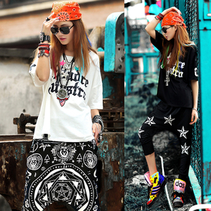 韩国<span class=H>潮流</span>爵士街舞服装夏装新款BF短袖女款hiphop宽松LORDS圆领T恤